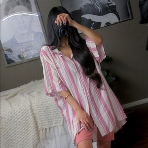 Barney Cools Striped Be Cool Button Down Top Shirt